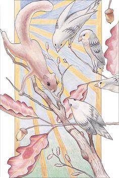 "Whimsical Illustration Titled ""Whispers in the Oak"""