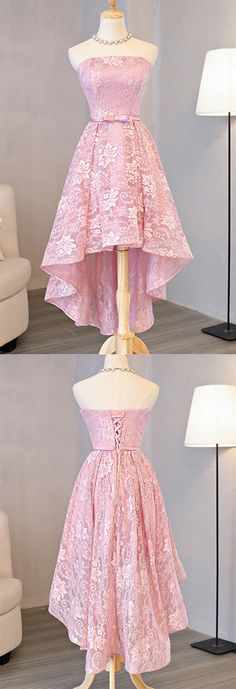 High Low Homecoming Dress, Pink Homecoming Dress, Prom Dresses Lace, Homecoming Dress A-Line Homecoming Dresses 2018 Simple Homecoming Dresses, High Low Prom Dresses, Pink Prom Dresses, A Line Prom Dresses, Dresses Short, Prom Party Dresses, Pretty Dresses, Girls Dresses, Prom Gowns