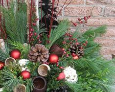33 Top Outdoor Holiday Planter Ideas You Will Love - It has been awhile since we experienced summer holidays and now, Christmas is really fast approaching. Just a few more days, we are going to celebrate. Office Christmas, Christmas Porch, Christmas Wreaths, Christmas Ideas, Christmas Crafts, Outdoor Christmas Planters, Outdoor Christmas Decorations, Outdoor Pots, Winter Decorations