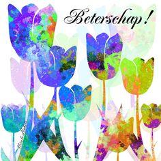 Mooie beterschapskaart van tulpen. U kunt uw eigen persoonlijke tekst toevoegen aan deze kaart.