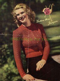 Free Knitting Pattern - 1940's Jumper - Emu 155 | 1940's Style For You | Bloglovin'