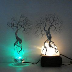 Wire Tree Of Life Moonlight Silver Wind SPiRiT sculpture on natural Brazil Quartz Crystal cluster Lamp, original art  LP22. $139.00, via Etsy.