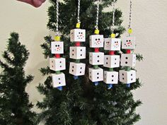 Snowman Ornaments, Wood Block Snowman, Christmas Tree Ornament, Tree Ornament, Snowman, 5 White Block Snowman, Wood Snowman,Painted Snowman by BrownBeaverBeadery on Etsy