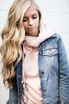 double hood hoodie, pink hoodie, blush hoodie, comfy, style, fashion, shop, womens fashion, blonde hair, wavy hair, half up, jessakae