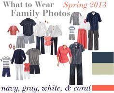 """Family Photos Spring 2013"" by wiby on Polyvore. navy, gray, and coral"