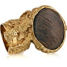 Yves Saint Laurent Arty gold-plated wooden ring ($145) ❤ liked on Polyvore featuring jewelry, rings, accessories, ysl, anillos, brown jewelry, brown ring, gold plated jewelry, wooden rings and yves saint laurent jewelry