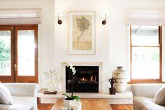 Fireplace with Belinda Fox artwork. Brooke Aitken Design.