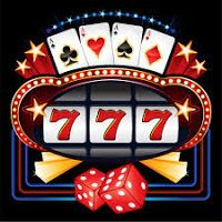 Games and gambling: shining casino slot machine winning on sevens