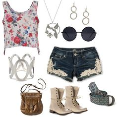 Cute outfit idea for a music festival - going to Sasquatch or Bonaroo? Denim shorts with lace embroidery with a floral tank top. Paired with chunky silver jewelry.