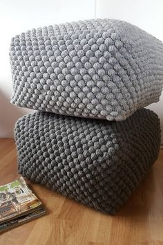 Crochet Blue/Green/White/Gray pouf-ottoman / Knit ottoman / Crochet footstool Wonderful, square shaped pouf- for those who like natural materials. The pouf knitted from wool yarn. The listing is for one pouf. Made to order. It takes from 3 to 4 weeks to make it for you. If you need it