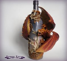 """decorated bottle """"Dawn morning"""" / dragon sculptures / Altered Bottle / dragon statue $245"""