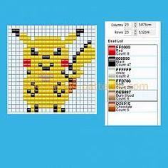 Pikachu Pokemon number 025 free perler beads pony beads pattern