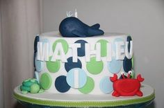 ocean party cake-whale, crab, turtle