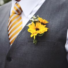 sunflower boutenier - Google Search Black eyed susans for guys... perfect.