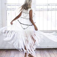 White enbellished fringed vest by Teal & Tara. Fresh boho chic.