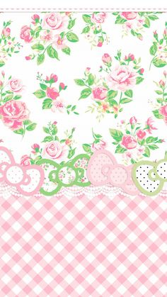 iPhone Wallpaper - preppy pink & green gingham check floral HK Hello Kitty