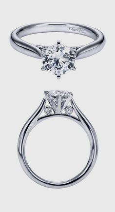 Gabriel & Co. - A 14k White Gold Diamond Solitaire Engagement Ring.