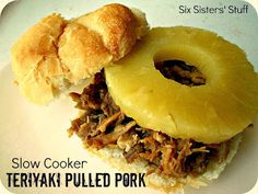 Slow Cooker Teriyaki Pulled Pork Sandwiches- the perfect summer meal! SixSistersStuff.com #recipes #sandwich #slowcooker