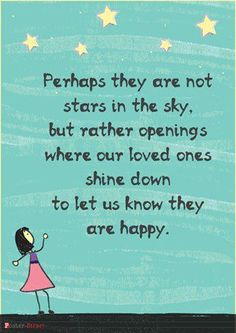 I love this saying, when we lost our little girl we were given a poem about the small things in life reminding us of her and this was one of the things. The brightest star in the sky that is me smiling down on you. :)
