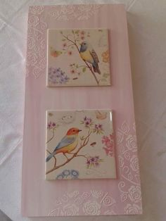 Tile Crafts, Craft Stick Crafts, Diy And Crafts, Paper Crafts, Decoupage Wood, Decoupage Furniture, Mod Podge Crafts, Korean Art, Bird Prints