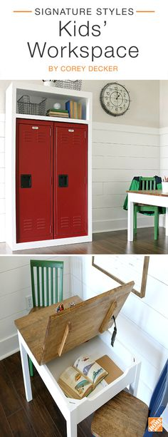 Keep your kids motivated with this fun and functional workspace. The steel lockers are ideal for storing school supplies while a wooden homework table keeps kids' work neatly tucked away. A vintage-style wall clock and wire baskets bring schoolhouse charm to this nifty nook. We partnered with blogger Corey Decker to create this study space. Click through to browse the items in this room.