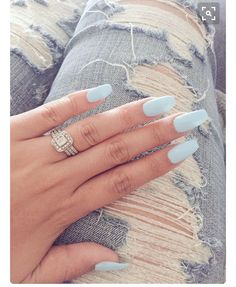 sale retailer 530aa 4aed6 Long light blue nails and a beautiful silver ring