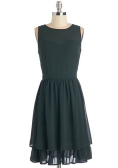 Ever Greenhouse Dress - Green, Solid, Casual, A-line, Sleeveless, Fall, Winter, Woven, Tiered, Long