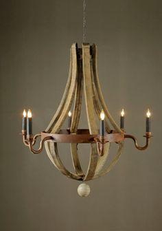 wine barrel chandelier - 6 candle by BoBo