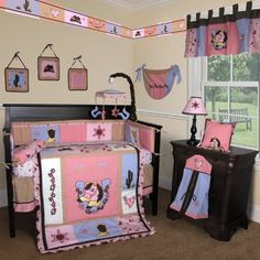 Cowgirl Nursery Bedding | Custom Baby Bedding -Western Cow Girl 15 PCS Crib Bedding