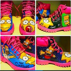 Simpsons custom timberland boots are to die for follow Robin's Facebook page @lollipop creations