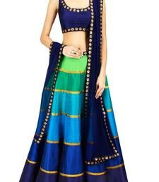 Buy Multicolor embroidered benglori silk unstitched lehenga-choli lehenga-choli online