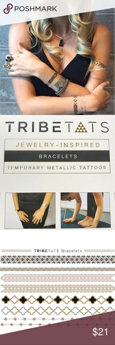 Tribetats Temporary Metallic Tattoo Bracelets I've curated the fan's favorite on trend bracelet designs into a boho chic pack of arm candy.   What's Inside:  Four sheets of metallic tattoo bracelets Colors: Gold, Silver Copper and Black designs  No scissors required: Perforations for easy tattoo separation on-the-go; no scissors required Tribetats Other