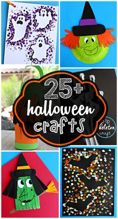 25+ Halloween Crafts for Kids to Make! Find witches, pumpkins, ghosts, skeletons, and more art projects!