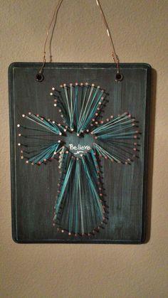 String and nail cross art
