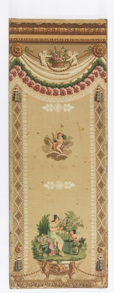 Vertical rectangle. Across bottom, acanthus border. On either side, lozenge border formed by interlacing cables, enclosing leaf form. Across top, simulated cornice, below which are festoons of drapery and flowers depending from circular bosses, between which is a basket of flowers flanked by two putti. In center of panel, putto with quiver and lyre, surrounded by cloud; at bottom, woman seated before a potted rose tree, with putto proferring an arrow.