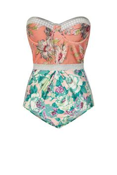 Zimmermann Celestial Floral-Print Underwired Swimsuit, $340; net-a-porter.com  [seen on elle.com]