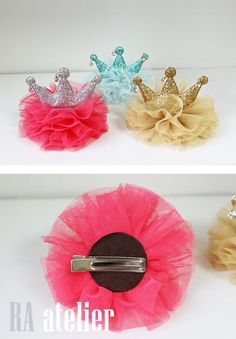 Retail Newborn Mini Felt Crown+Glitter Elastic Headband For Girls Hair Accessories Handmade Luxe Baby Headbands Ribbon Crafts, Ribbon Bows, Diy Crafts, Tulle Crafts, Ribbons, Diy Hair Bows, Diy Bow, Tulle Hair Bows, Making Hair Bows