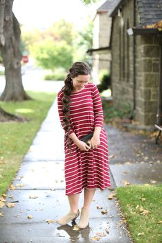 Modest Fashion   Modest Bridesmaid Dresses   Burgundy Striped Swing Dress from Dainty Jewell's Modest Apparel Boutique
