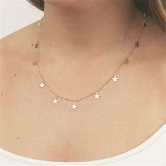 Sexy Collar Necklace Star Heart Pendant Gold Plated Choker Necklaces Fashion collares Jewelry Body Chain colar For Women XL7028