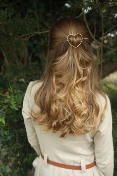 Heart hair barrette brass hair accessories rustic copper hair pin silver hair clip gift for her knitting accessories shawl pin scarf pin