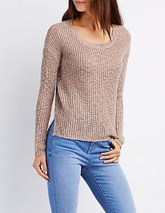 27a0b90d4ec Slub Knit Pullover Top Charlotte Russe Sweaters