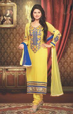 USD 60.99 Kratika Sengar Yellow Georgette Churidar Suit 38898