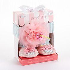 """Baby Cakes"" Cupcake Headband and Booties Gift Set  #babycakes #cupcake #booties #babyheadband http://timelesstreasure.theaspenshops.com/cupcake-headband-booties.html"