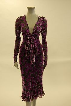 Ossie Clark 1980s devore velvet dress