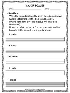 The C Major Scale 2nd - 12th Grade Worksheet | Lesson Planet