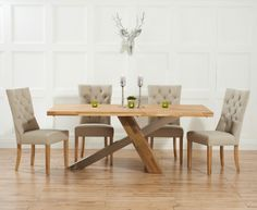 chateau 225cm solid oak and metal dining table with pacific fabric chairs the great furniture