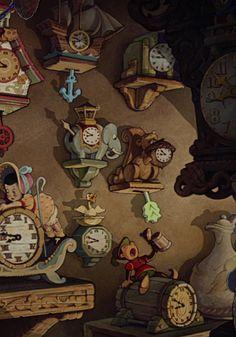 Cool clocks in Gepetto's workshop.