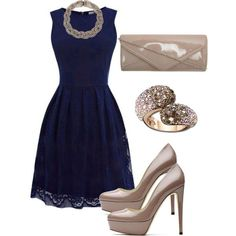 Image result for polyvore navy lace dress with gold shoes