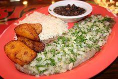 The most common Cuban meal...Arroz Blanco, Frijoles Negros, Platanos Maduros Fritos, Bistec de Palomilla con perejil y cebollitas! QUE RICO!!
