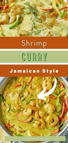 This curry is super flavorful, rich, and a dish you wont be ableto get enough of. Big shrimp are cooked up until pink them mixed with bell peppers in a creamy coconut milk based curry sauce. The sauce is a little spicy and full of flavor. Best of all this recipe is easy enough for any weeknight! Jamaican Recipes, Curry Recipes, Jamaican Curry Powder, Coconut Curry Shrimp, Curry Goat, New Recipes For Dinner, Shrimp Recipes Easy, Food Diary, Pressure Cooker Recipes